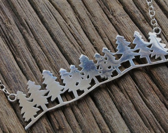 Forest necklace, Sterling silver tree necklace, nature necklace, pine tree, branch necklace