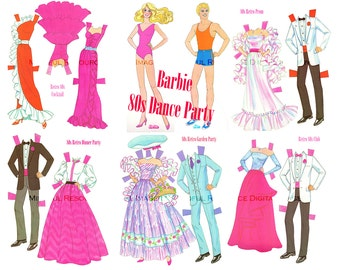 Barbie / Ken 80s Dance Party Paper Doll Retro 80s Fashion Vintage Printable Digital Download Club Cocktail Dinner Party Dresses
