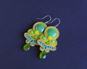 soutache earrings, turquoise earrings, gift for woman, embroidery earrings, blue earrings, dangle earrings, gift for girl, mother's day