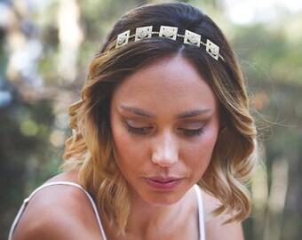 Reign Headpiece, Crystal and Diamond Shaped Rhinestone Wedding Hair Accessory, Rhinestone Wedding Hair Piece, Wedding Tiara