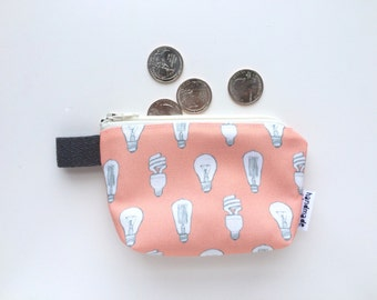 Light Bulbs Divided Mini Flat Bottom Pouch / Coin Purse (handmade philosophy's pattern)
