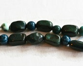 African Beads, Handmade Beads, Ceramic Beads, terracotta clay beads, dark green beads, earthbutter, art beads, handmade in Africa