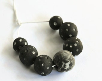 Textured black beads, African beads, made in South Africa,  unglazed black/charcoal ceramic beads made in South Africa, organic beads
