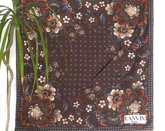 70s 80s Vintage LANVIN Paris Brown Floral Silk Scarf