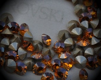 1028 24pp Genuine Swarovski Crystals Topaz Champagne Rounds Foiled Rhinestones 144pcs 1 Gross