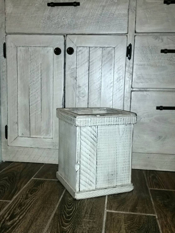 trash bin bathroom garbage can small rustic farmhouse by jamierae6. Black Bedroom Furniture Sets. Home Design Ideas