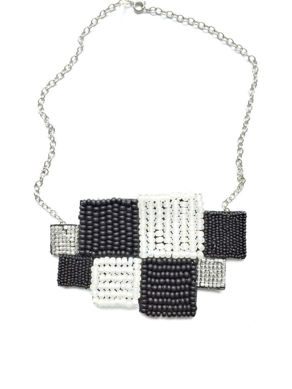 black and white square necklace