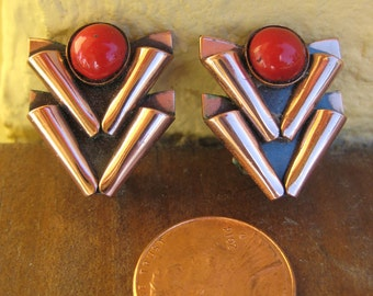 RENOIR Red & Copper MATISSE Vintage Earrings