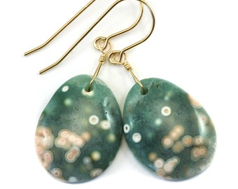 Ocean Jasper Earrings Oval Smooth Cut Teardrops Select Hand Paired  14k Gold Filled Soft Green Pale Peach Pink Markings Unique Drops