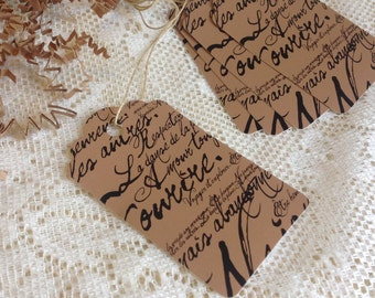 100 Large KRAFT script paper tags including twine