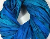 Recycled Sari Silk Ribbon Ribbon 588 Turquoise Jewelry Tassels Sari Wrap Bracelet Fair Trade Eco Gift  Wrap Fiber Art Felt Supply