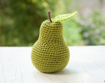 Crochet Green Pear - baby rattle, pretend play, kitchen decoration, eco-friendly toy - FrejaToys