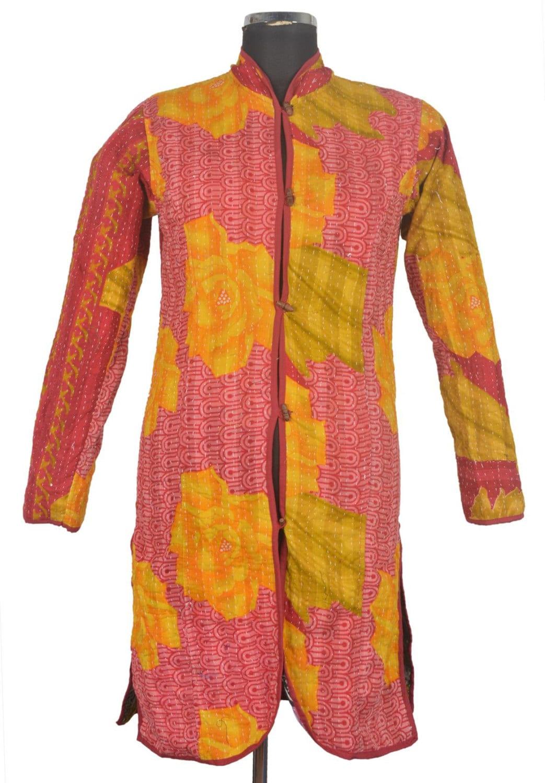 M vintage kantha long jacket reversible gudri rally coat