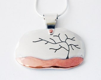 Mixed metal jewelry, Mystic Tree pendant and silver and copper mixed metal pendant