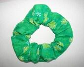 St. Patricks Day Shamrocks Sparkle Green Handmade Fabric Hair Scrunchie