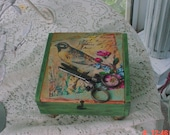 Cigar Box Vintage Decorated Cottage Romantic Shabby Chic OOAK
