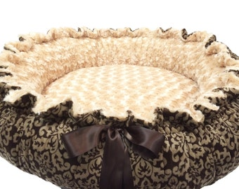 X Small Round Dog Bed in Brown Damask with Matching Blanket