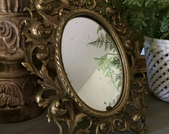Antique Brass Mirror Rococo Mirror Brass Art Nouveau Table Mirror