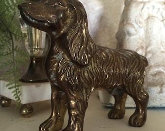 Vintage Brass Dog Brass Dog Statue Brass Spaniel Dog