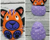 Peekaboo Tiger In the Hoop Stuffed Softie - Reversible folds into an egg, ITH, IN The Hoop, Embroidery Design, Instant download