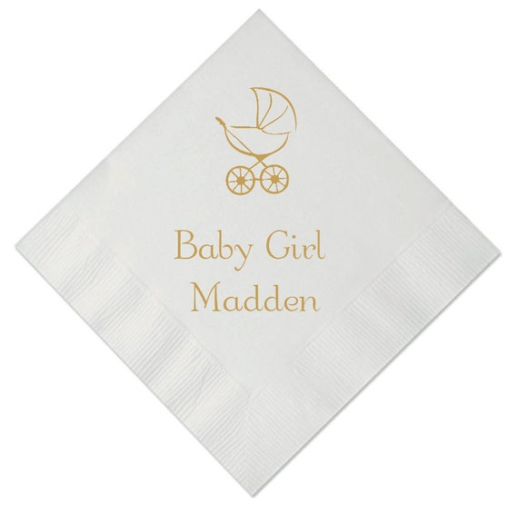 Stroller Personalized Baby Shower Napkins By Pink Poppy