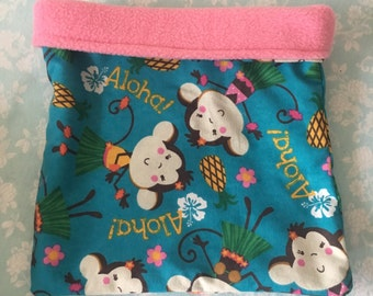 Aloha Monkeys Flannel with Pink Fleece Snuggle Bag