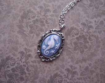 Petite Blue Seahorse Vintage Inspired Cameo Ladies Silver Filegre art designer Necklace Pendant