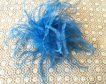 Pretty Blue Ostrich Feather for Millinery or Decorative Use