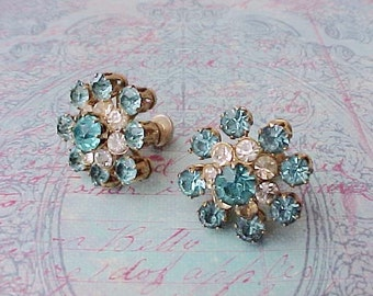 Pretty Pair of 1950's Signed Rhinestone Earrings with Aqua Stones by Coro