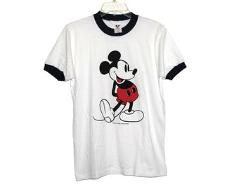 Vintage 70s 80s MICKEY MOUSE White Cotton Ringer Tee by Walt Disney Productions- Size S