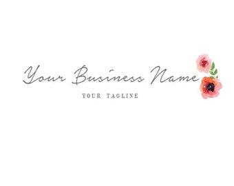 Watercolor Logo - Logo design - script logo - typography logo - typography design - modern logo - for any business - branding, Roses