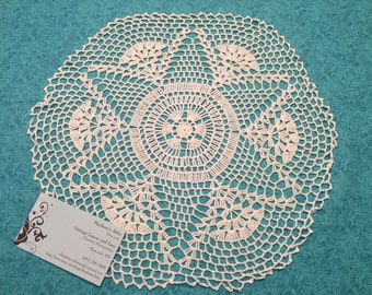 White doily, Vintage 12 inch Hand crochet white doily for housewares, pillows, sewing, crafts, shabby chic, bags by MarlenesAttic