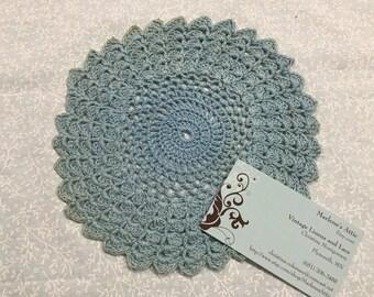 Vintage 7 inch Blue hand crochet doily for sewing, housewares, handbags, pillows, home decor MarlenesAttic