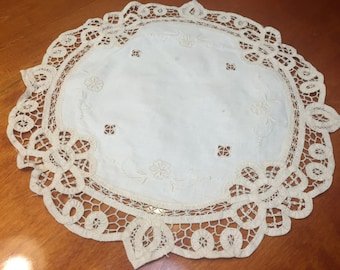 Vintage 15 inch ivory doily with battenburg lace for crafts, sewing, housewares, linen, trim, holiday, table by MarlenesAttic