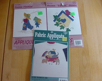 """3 Packages Fabric Appliques, Gone Fishin', Home """"Tweet"""" Home, Rainbow Ark, Sewing Notions, Sewing Supplies, Trims, Embellishments"""