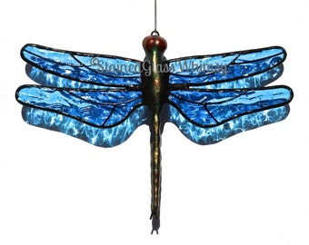 Stained Glass DRAGONFLY Suncatcher - Medium Turquoise Blue Wings, Ripple Textured - USA Handmade, Blue Dragonfly, Blue Firefly
