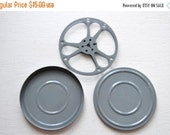 ON SALE Vintage Light Gray Film Reel and Canister