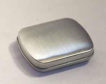 10 Little Tins Size 2.5 by 2 inch. Hinged Tin Stash Tin