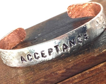 New! Silver and Copper Soldered ACCEPTANCE Bracelet, Inspiring Jewelry, Forged Copper Cuff Bracelet, Silver Word Bracelet, Kyleemae Designs