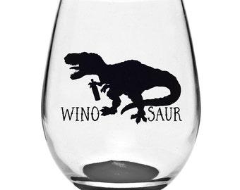 WinoSaur Stemless Wine Glass | Dinosaur Wine Glass | Stemless Glass | Stemless Wine Glass | Dinosaur Gifts | Wine Gifts | T-Rex Glass