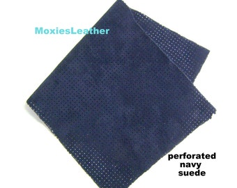 navy suede piece perforated crafts leather piece - real suede skins - genuine suede pieces - perforated leathers i