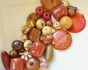reclaimed assortment of beads, charms, and cabochons//rust brown cream gold--destash mixed lot of 30 items