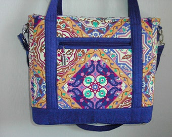 Handmade Large Purse, Colorful Footed and Zippered Purse