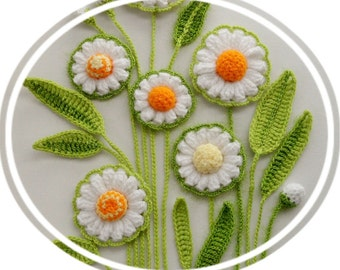 Crochet Applique - Flowers and Leaves Set - Daisy Flowers