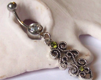 Belly Button Ring - Belly Button Jewelry - Silver Dangle Peridot Swarovski Crystal Belly Rings - Crystal Belly Ring - Made to Order