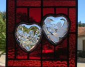 Red Stained Glass Panel with Collectible Heart-Shaped Dishes