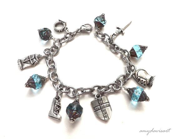 teal armor of god charm bracelet scripture jewelry christian