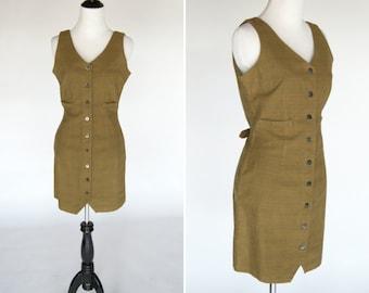 Vintage 1980's Olive Green Plaid Jumper Dress -Grunge fitted mini dress - ladies size small
