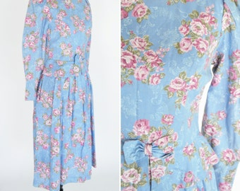 Vintage 1980's Blue Floral Peplum Midi Dress - 80's Long Sleeve Fitted Rose Print Dress - Ladies Size Small