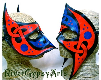 Leather Celtic Helms, Red Blue Black Mask Set, Two Handpainted Wearable Art, Irish Knotwork Couples Costume (M38/M58)